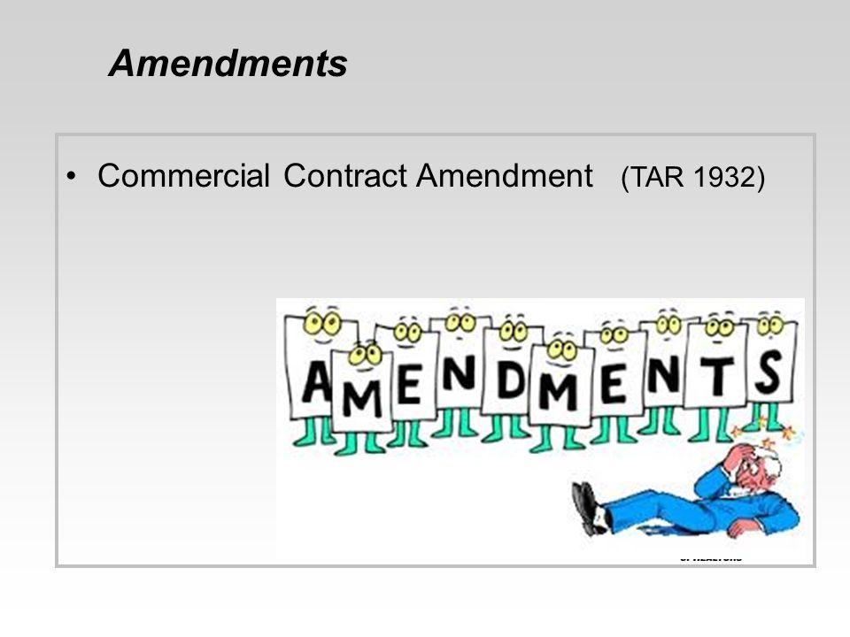 Amendments Commercial Contract Amendment (TAR 1932)