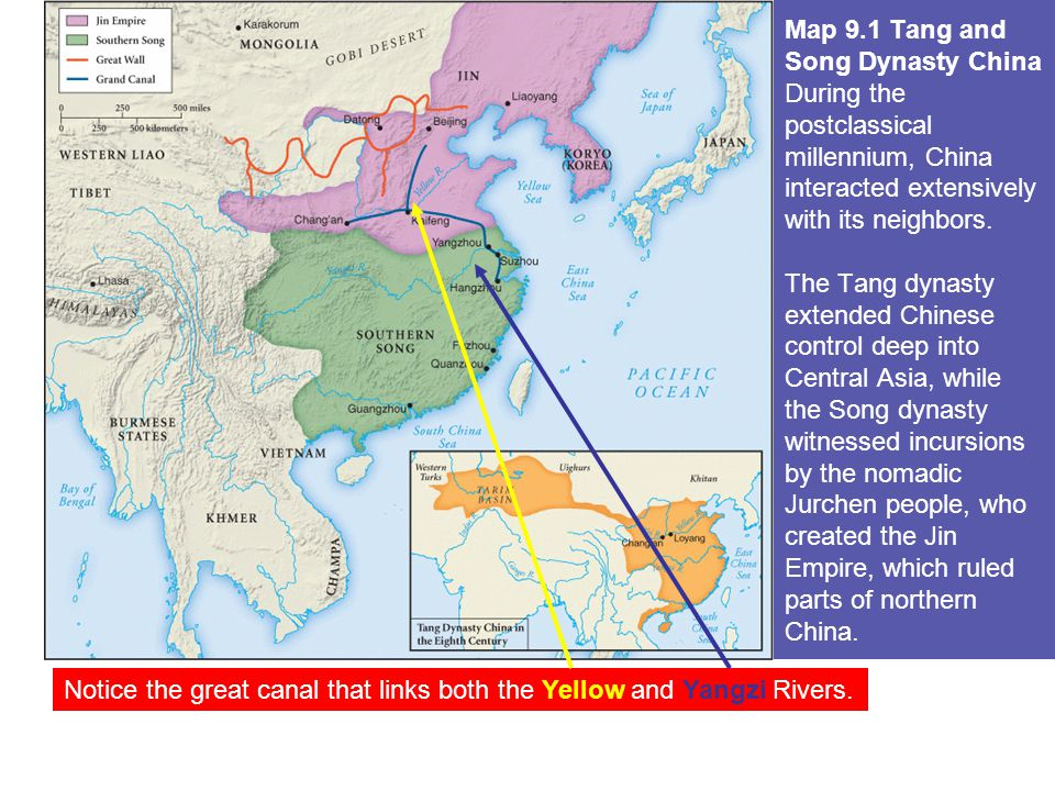 1.Sui dynasty (589–618) reunified China a.Sui rulers vastly extended the canal system b.
