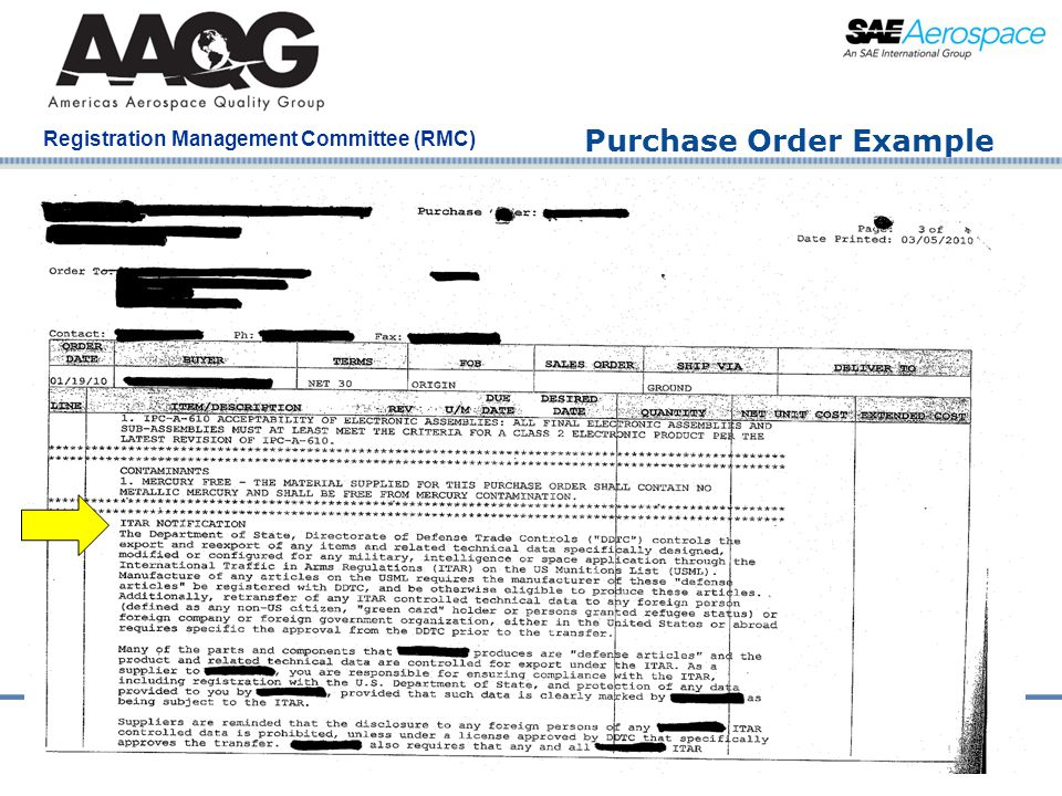 Company Confidential Registration Management Committee (RMC) Purchase Order Example