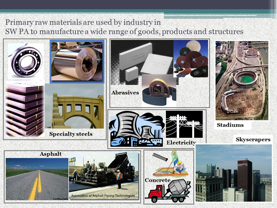 Primary raw materials are used by industry in SW PA to manufacture a wide range of goods, products and structures Specialty steels Abrasives Asphalt Stadiums Skyscrapers Electricity Concrete