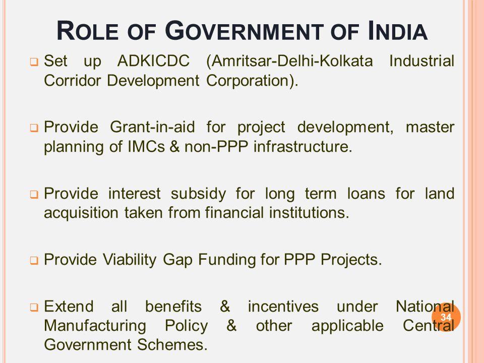 R OLE OF G OVERNMENT OF I NDIA  Set up ADKICDC (Amritsar-Delhi-Kolkata Industrial Corridor Development Corporation).  Provide Grant-in-aid for proje