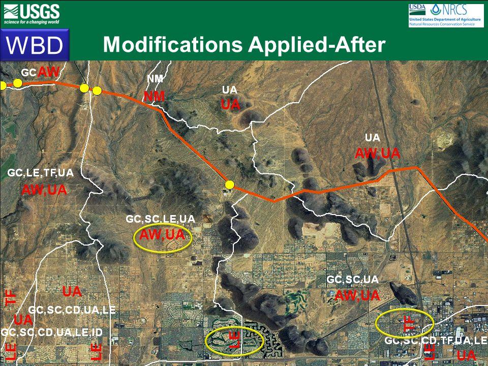 Modifications Applied-After WBD AW,UA NM AW,UA UA AW LE TF LE AW,UA TF LE UA LE