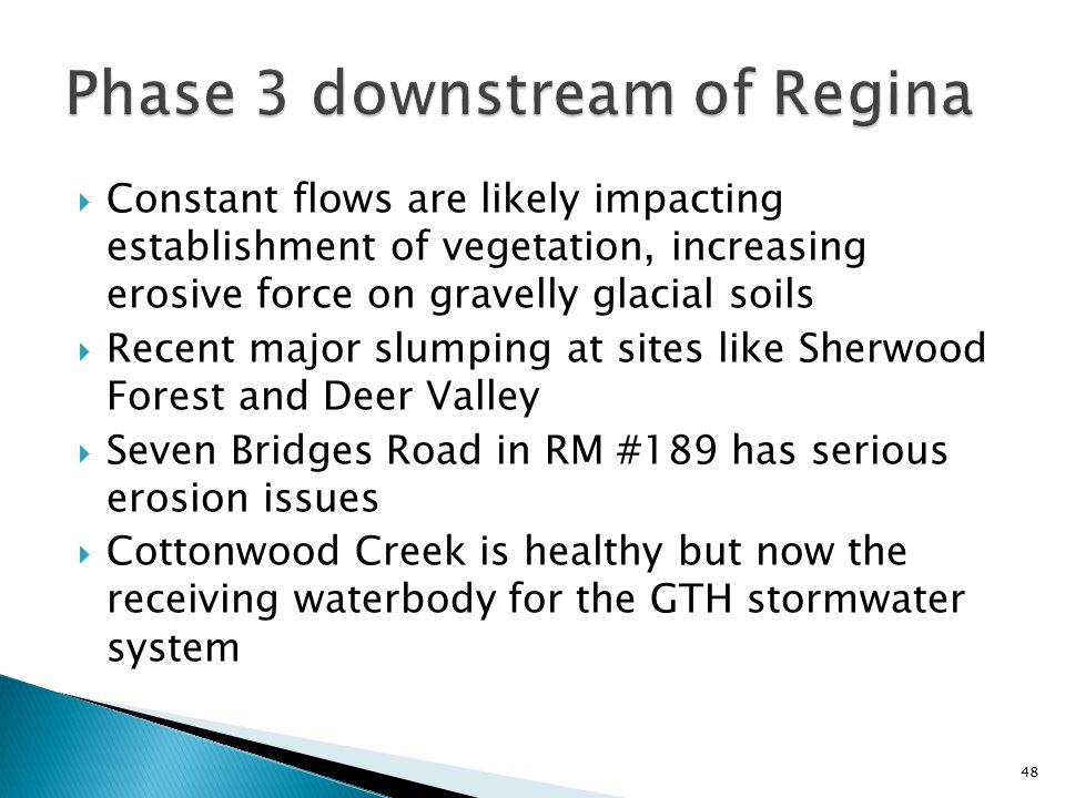  Constant flows are likely impacting establishment of vegetation, increasing erosive force on gravelly glacial soils  Recent major slumping at sites like Sherwood Forest and Deer Valley  Seven Bridges Road in RM #189 has serious erosion issues  Cottonwood Creek is healthy but now the receiving waterbody for the GTH stormwater system 48