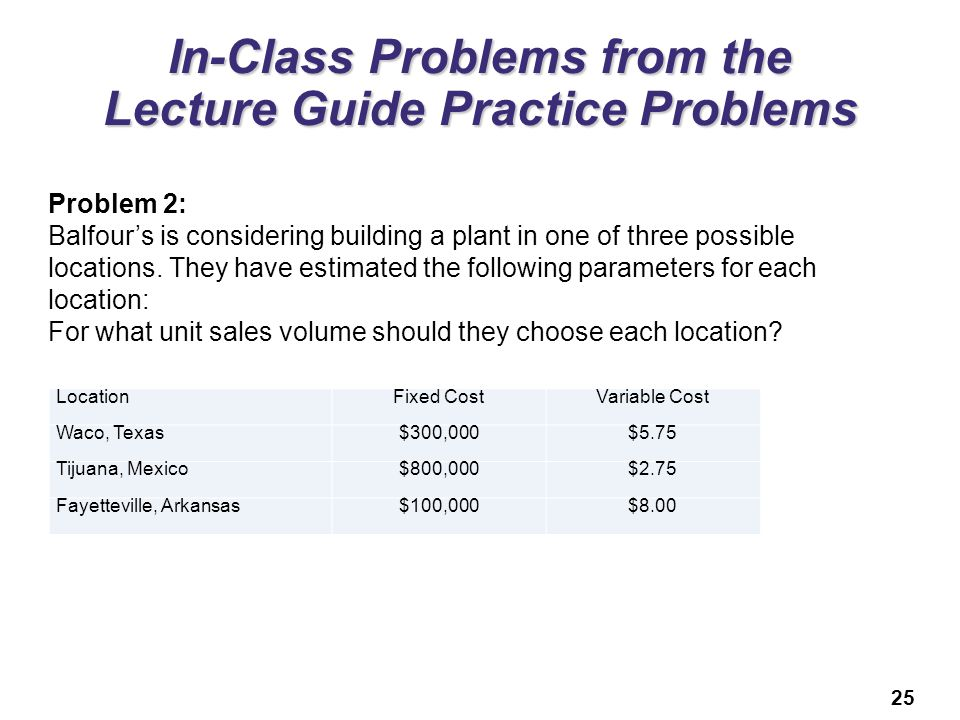 25 In-Class Problems from the Lecture Guide Practice Problems Problem 2: Balfour's is considering building a plant in one of three possible locations.