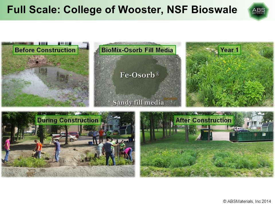 Full Scale: College of Wooster, NSF Bioswale © ABSMaterials, Inc 2014
