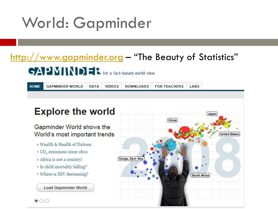 World: Gapminder http://www.gapminder.orghttp://www.gapminder.org – The Beauty of Statistics