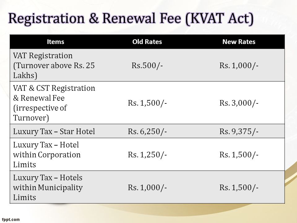 ItemsOld RatesNew Rates VAT Registration (Turnover above Rs.