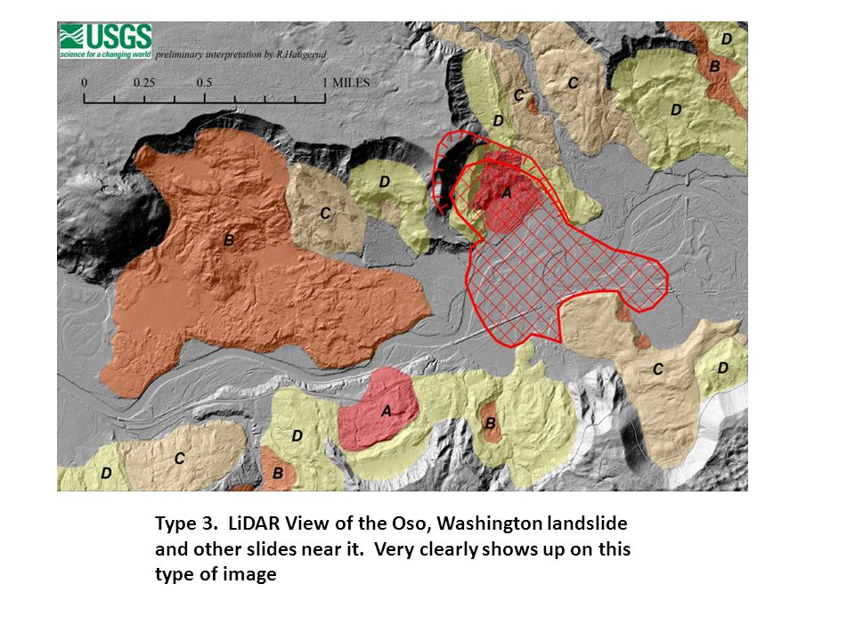 Type 3. LiDAR View of the Oso, Washington landslide and other slides near it.