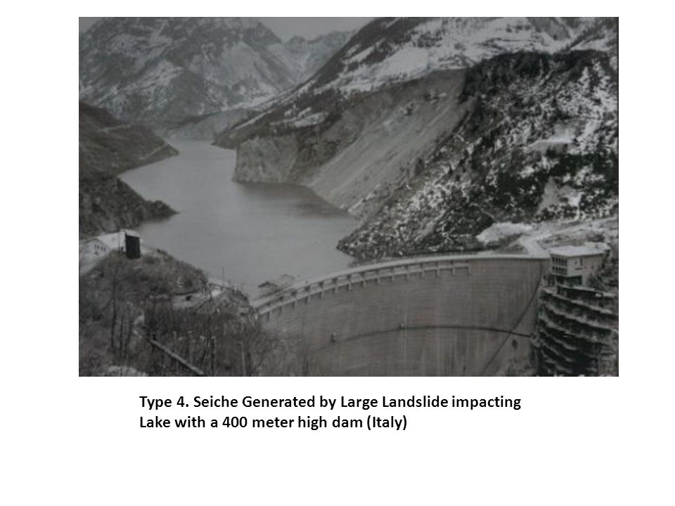Type 4. Seiche Generated by Large Landslide impacting Lake with a 400 meter high dam (Italy)