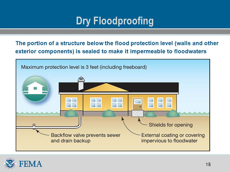 15 Dry Floodproofing The portion of a structure below the flood protection level (walls and other exterior components) is sealed to make it impermeable to floodwaters