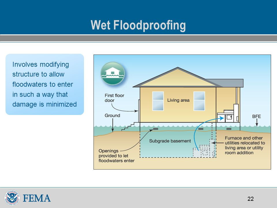 22 Wet Floodproofing Involves modifying structure to allow floodwaters to enter in such a way that damage is minimized