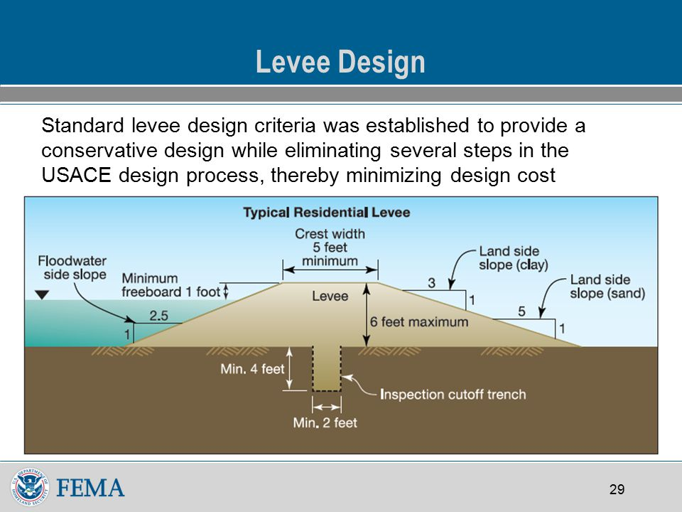29 Levee Design Standard levee design criteria was established to provide a conservative design while eliminating several steps in the USACE design process, thereby minimizing design cost