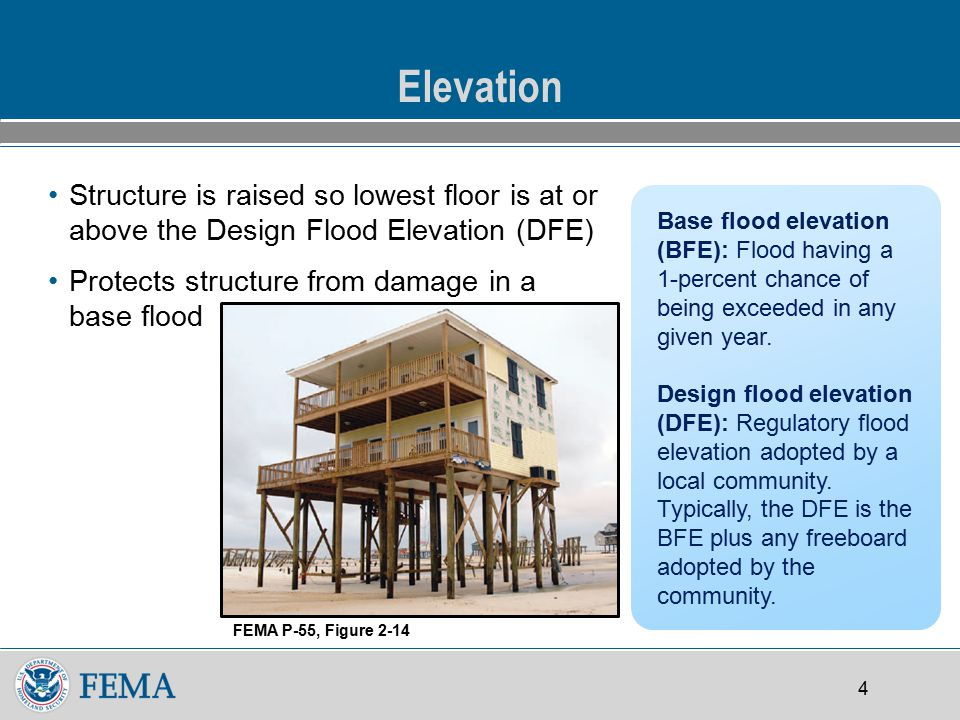 4 Elevation Structure is raised so lowest floor is at or above the Design Flood Elevation (DFE) Protects structure from damage in a base flood Base flood elevation (BFE): Flood having a 1-percent chance of being exceeded in any given year.