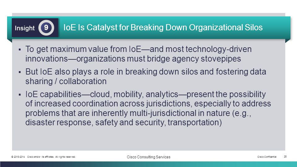 Cisco Confidential 28 © 2013-2014 Cisco and/or its affiliates. All rights reserved. Cisco Consulting Services IoE Is Catalyst for Breaking Down Organi