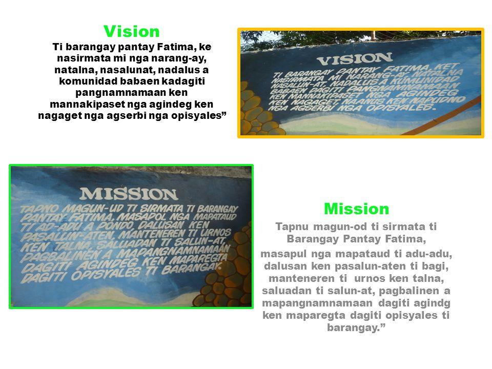 Vision Ti barangay pantay Fatima, ke nasirmata mi nga narang-ay, natalna, nasalunat, nadalus a komunidad babaen kadagiti pangnamnamaan ken mannakipase