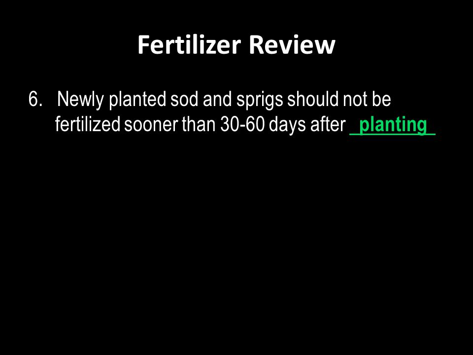 Fertilizer Review 6. Newly planted sod and sprigs should not be fertilized sooner than 30-60 days after planting