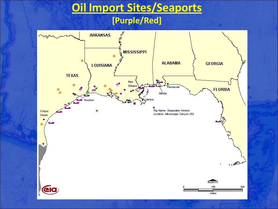 Oil Import Sites/Seaports [Purple/Red]