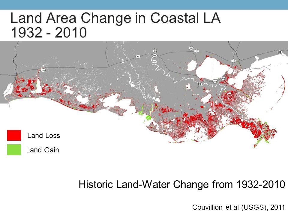 Historic Land-Water Change from 1932-2010 Couvillion et al (USGS), 2011 Land Loss Land Gain Land Area Change in Coastal LA 1932 - 2010