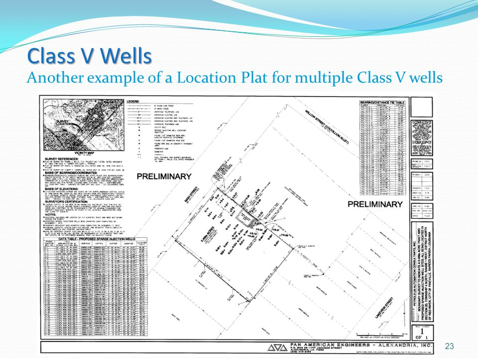 Class V Wells Class V Wells Another example of a Location Plat for multiple Class V wells 23