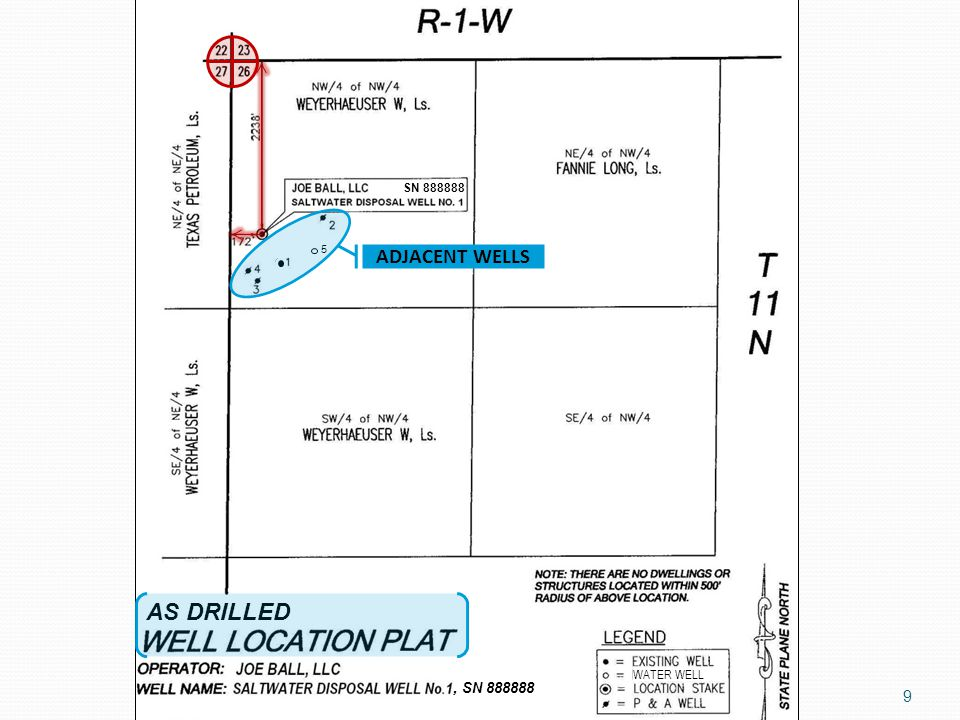 WATER WELL 5 AS DRILLED, SN 888888 SN 888888 ADJACENT WELLS 9