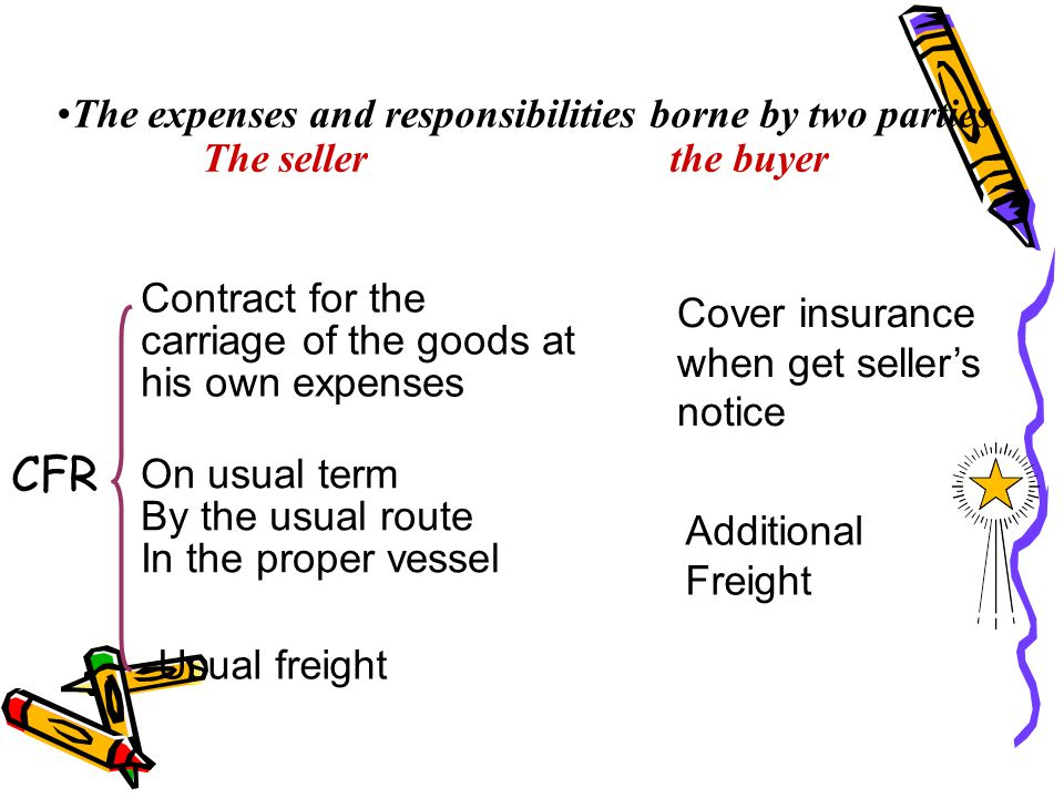 The expenses and responsibilities borne by two parties The seller the buyer CFR Contract for the carriage of the goods at his own expenses On usual te