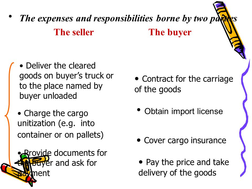 The expenses and responsibilities borne by two parties The seller The buyer Deliver the cleared goods on buyer's truck or to the place named by buyer