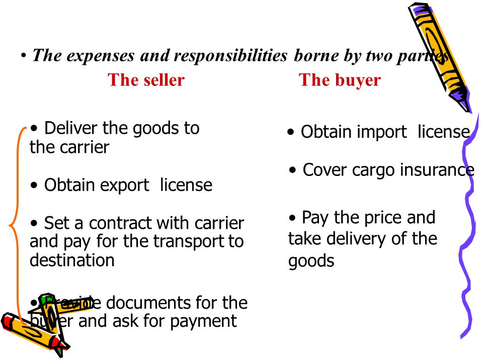 The expenses and responsibilities borne by two parties The seller The buyer Deliver the goods to the carrier Set a contract with carrier and pay for t