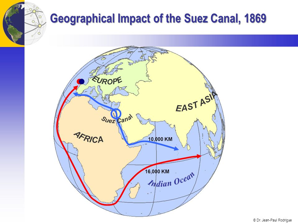 © Dr. Jean-Paul Rodrigue Geographical Impact of the Suez Canal, 1869 16,000 KM 10,000 KM