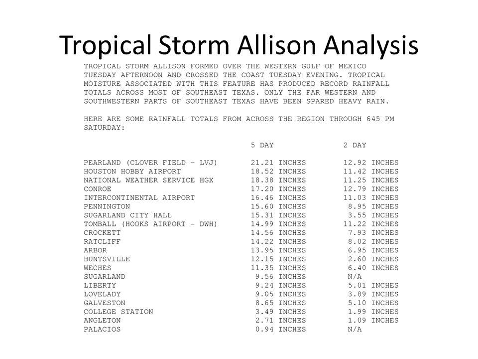 Tropical Storm Allison Analysis Cont'd