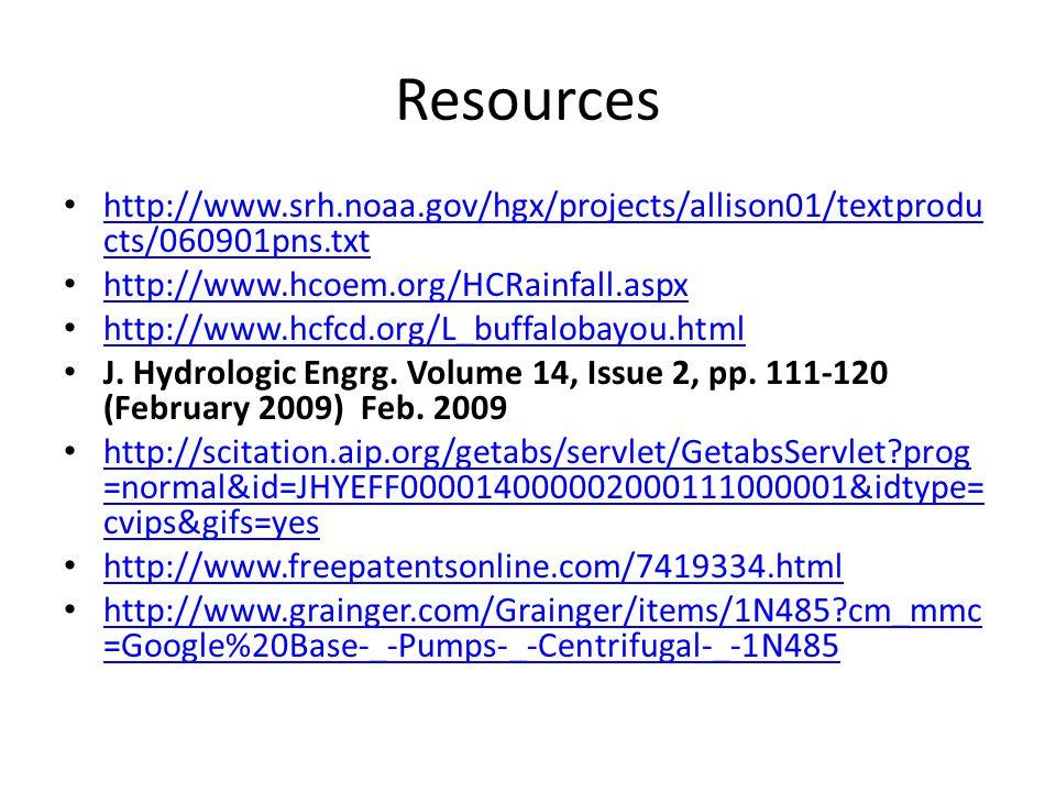 Resources http://www.srh.noaa.gov/hgx/projects/allison01/textprodu cts/060901pns.txt http://www.srh.noaa.gov/hgx/projects/allison01/textprodu cts/060901pns.txt http://www.hcoem.org/HCRainfall.aspx http://www.hcfcd.org/L_buffalobayou.html J.