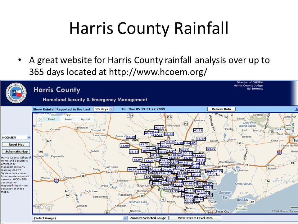 Harris County Rainfall Cont'd Once you select the gauge you want to explore, the site takes you further and allows you to find detailed information about the location.