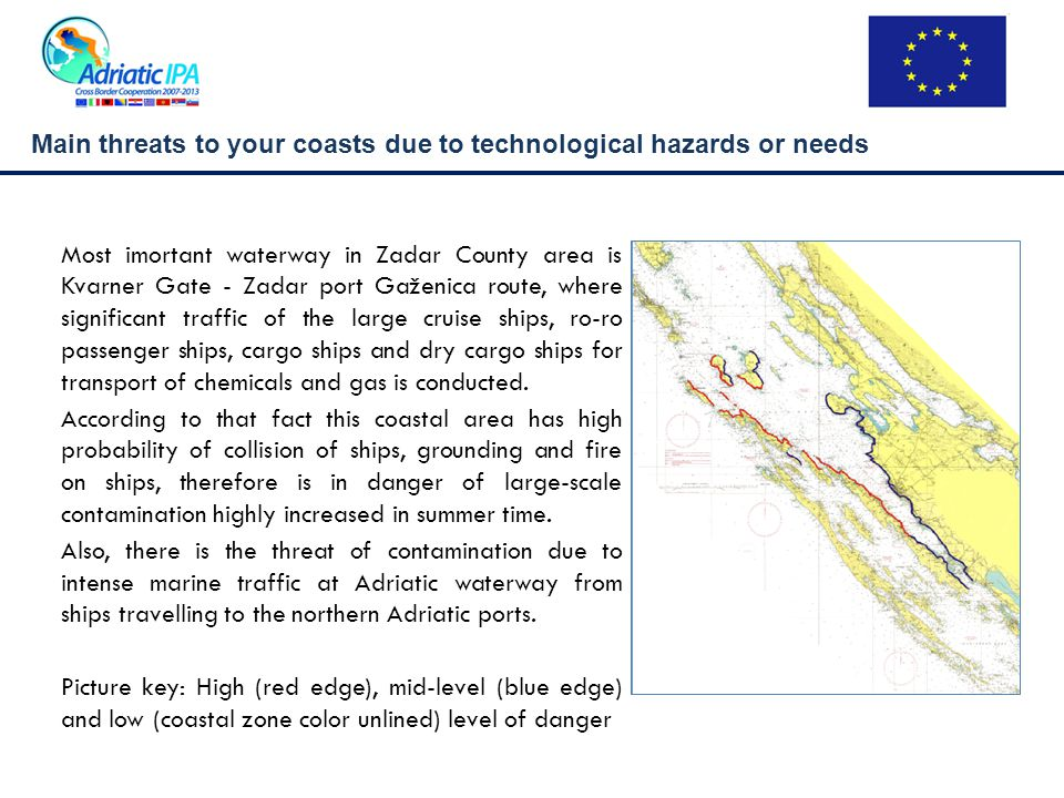 Main threats to your coasts due to technological hazards or needs Most imortant waterway in Zadar County area is Kvarner Gate - Zadar port Gaženica route, where significant traffic of the large cruise ships, ro-ro passenger ships, cargo ships and dry cargo ships for transport of chemicals and gas is conducted.