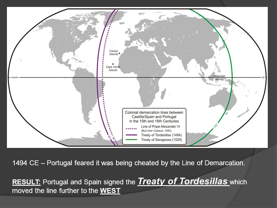 1494 CE – Portugal feared it was being cheated by the Line of Demarcation. RESULT: Portugal and Spain signed the Treaty of Tordesillas which moved the