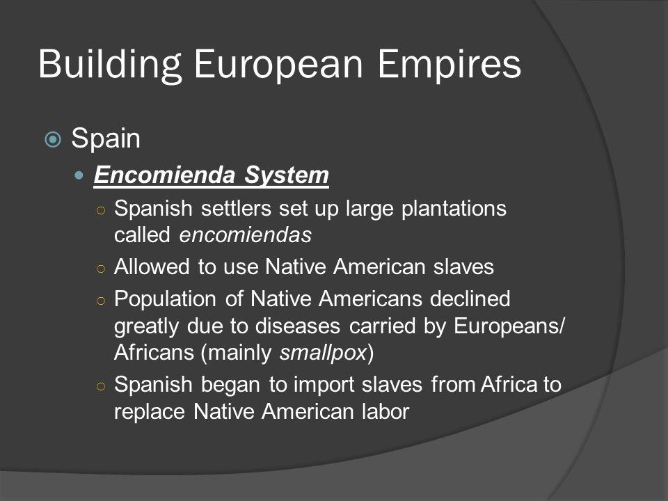 Building European Empires  Spain Encomienda System ○ Spanish settlers set up large plantations called encomiendas ○ Allowed to use Native American sl