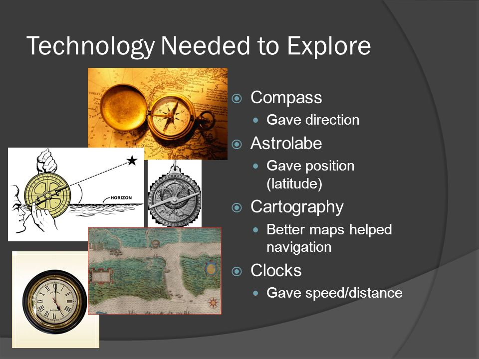 Technology Needed to Explore  Compass Gave direction  Astrolabe Gave position (latitude)  Cartography Better maps helped navigation  Clocks Gave s