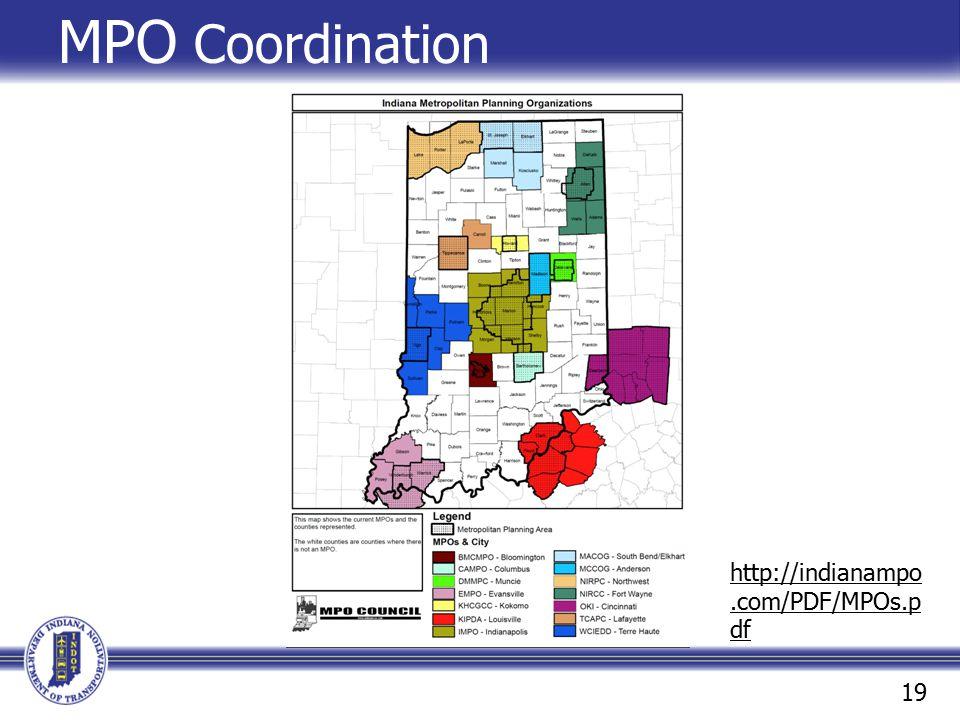 MPO Coordination http://indianampo.com/PDF/MPOs.p df 19