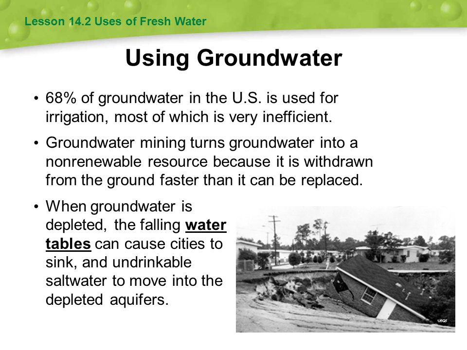 Using Groundwater 68% of groundwater in the U.S.