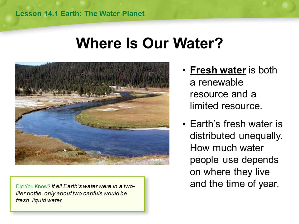 Where Is Our Water.Fresh water is both a renewable resource and a limited resource.