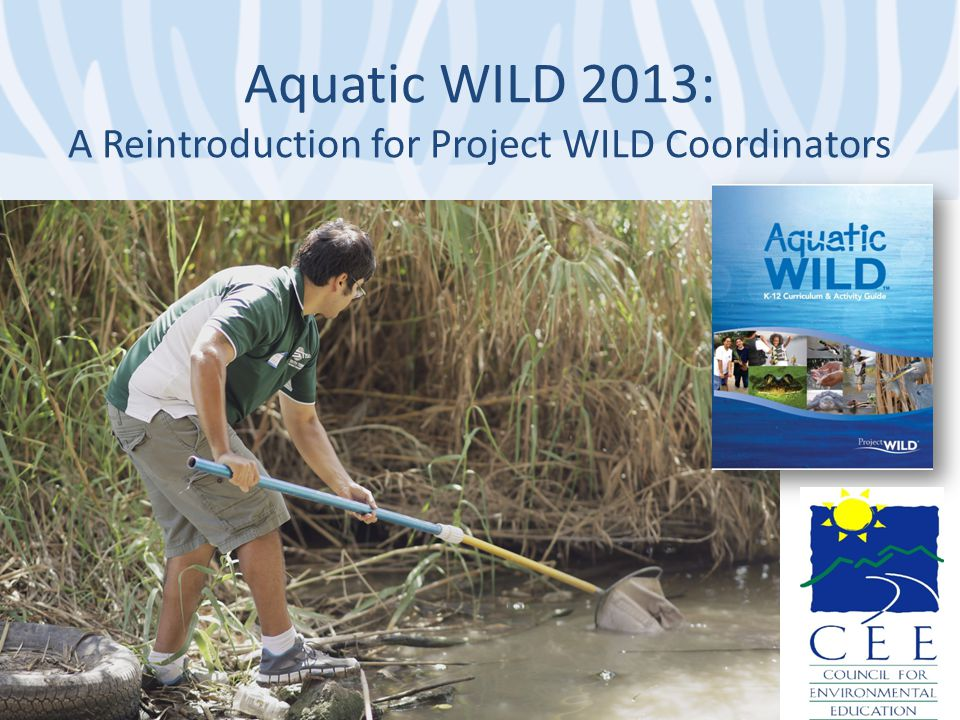Aquatic WILD History & Goals 1987 First Edition 2000 Revised Project WILD Aquatic as part of comprehensive PW program evaluation 2013 Expanded Goal: To build on existing AW materials with emphasis on expanding Field Investigations, STEM and Wildlife Career opportunities