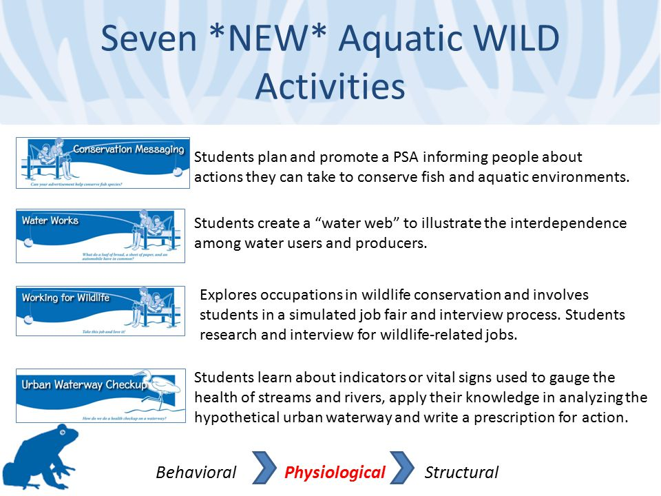 Seven *NEW* Aquatic WILD Activities Behavioral Physiological Structural Students learn about indicators or vital signs used to gauge the health of str