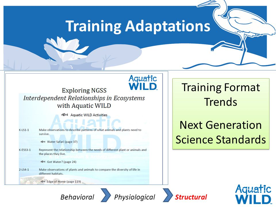 Training Adaptations Behavioral Physiological Structural Training Format Trends Next Generation Science Standards Training Format Trends Next Generati