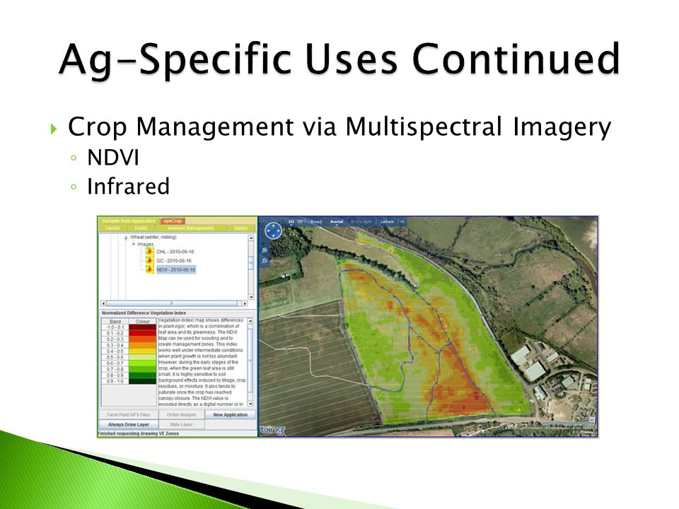  Crop Management via Multispectral Imagery ◦ NDVI ◦ Infrared
