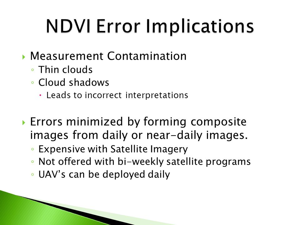  Measurement Contamination ◦ Thin clouds ◦ Cloud shadows  Leads to incorrect interpretations  Errors minimized by forming composite images from daily or near-daily images.