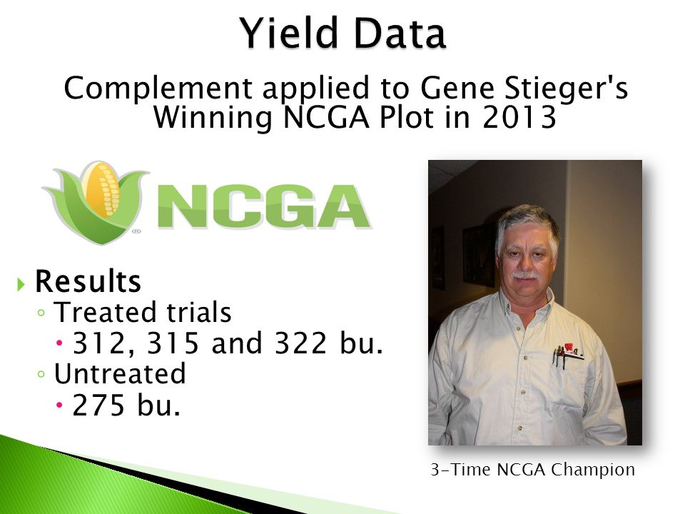 Complement applied to Gene Stieger s Winning NCGA Plot in 2013  Results ◦ Treated trials  312, 315 and 322 bu.