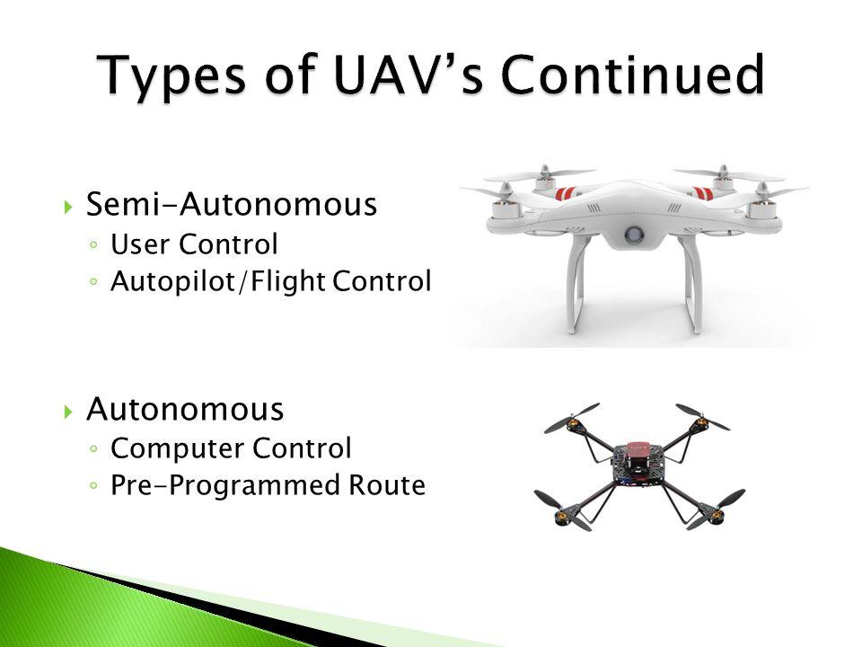  Semi-Autonomous ◦ User Control ◦ Autopilot/Flight Control  Autonomous ◦ Computer Control ◦ Pre-Programmed Route