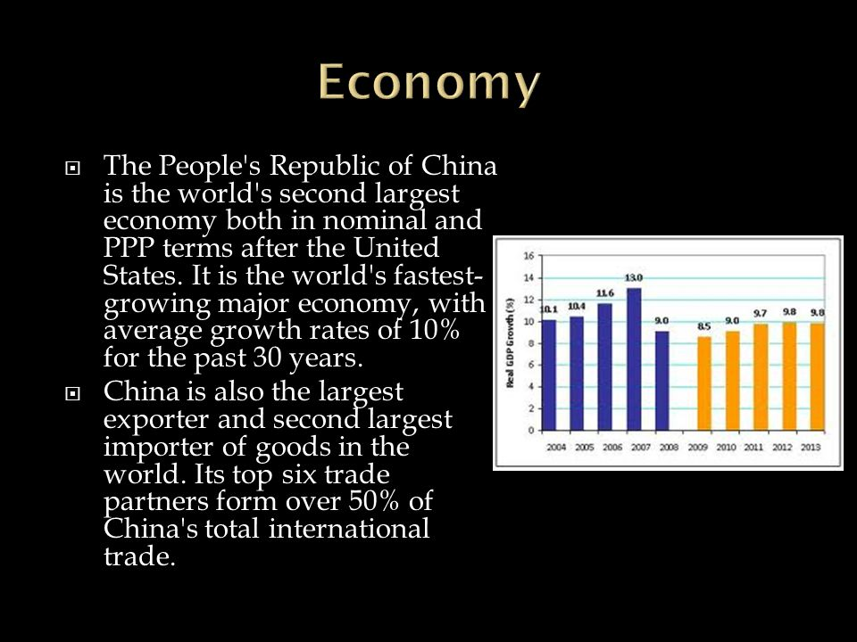  The People s Republic of China is the world s second largest economy both in nominal and PPP terms after the United States.