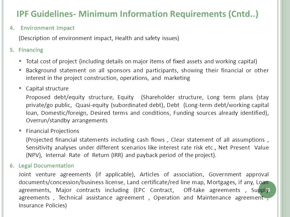 IPF Guidelines- Minimum Information Requirements (Cntd..) 16 4.