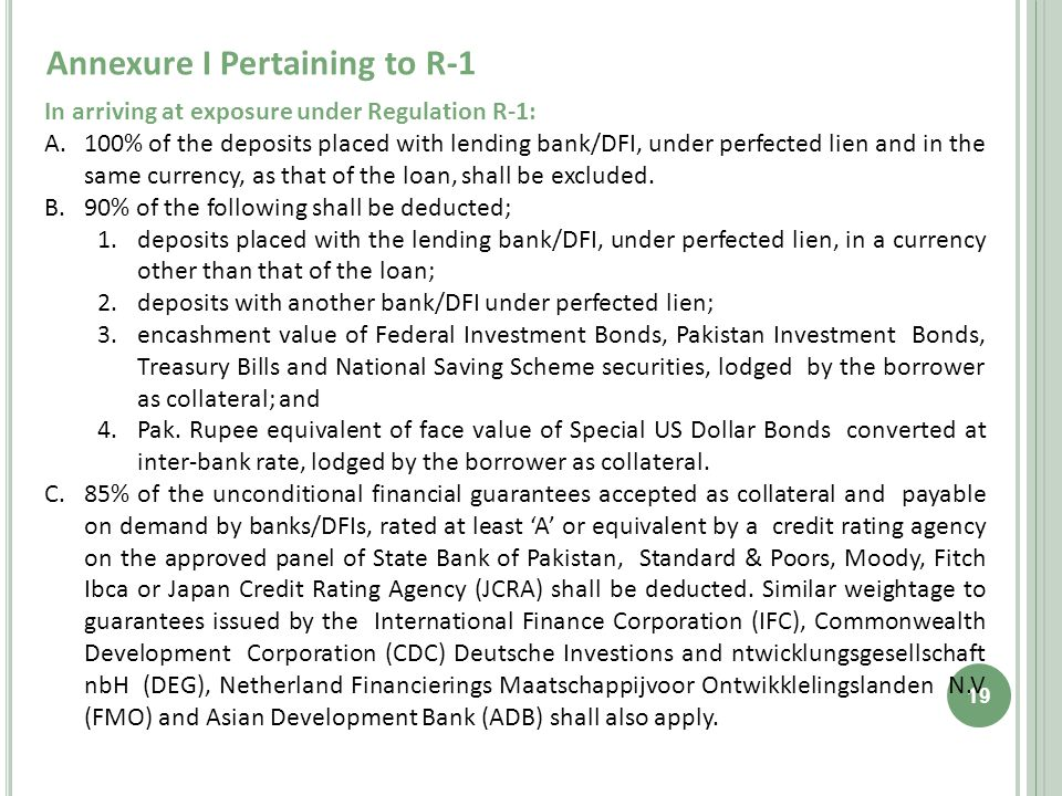 Annexure I Pertaining to R-1 19 In arriving at exposure under Regulation R-1: A.100% of the deposits placed with lending bank/DFI, under perfected lien and in the same currency, as that of the loan, shall be excluded.