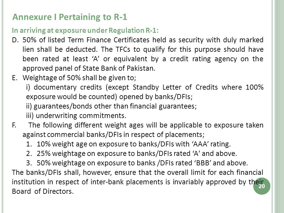 Annexure I Pertaining to R-1 20 In arriving at exposure under Regulation R-1: D.50% of listed Term Finance Certificates held as security with duly marked lien shall be deducted.