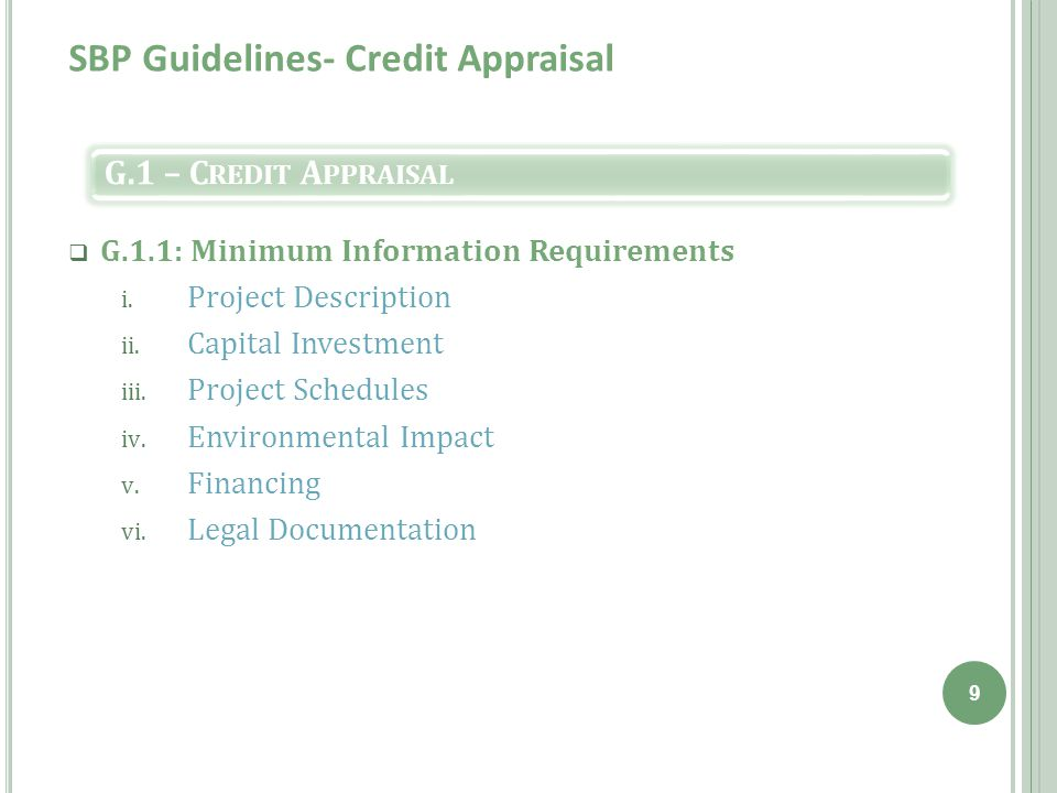 SBP Guidelines- Credit Appraisal  G.1.1: Minimum Information Requirements i.